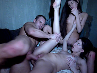 Sleeping guy misses a great threesome